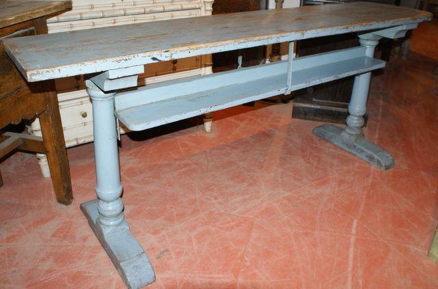 Narrow Trestle Table 19th C Blue Painted Narrow Trestle Table. 1860.