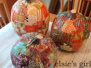 fabric pumpkins...