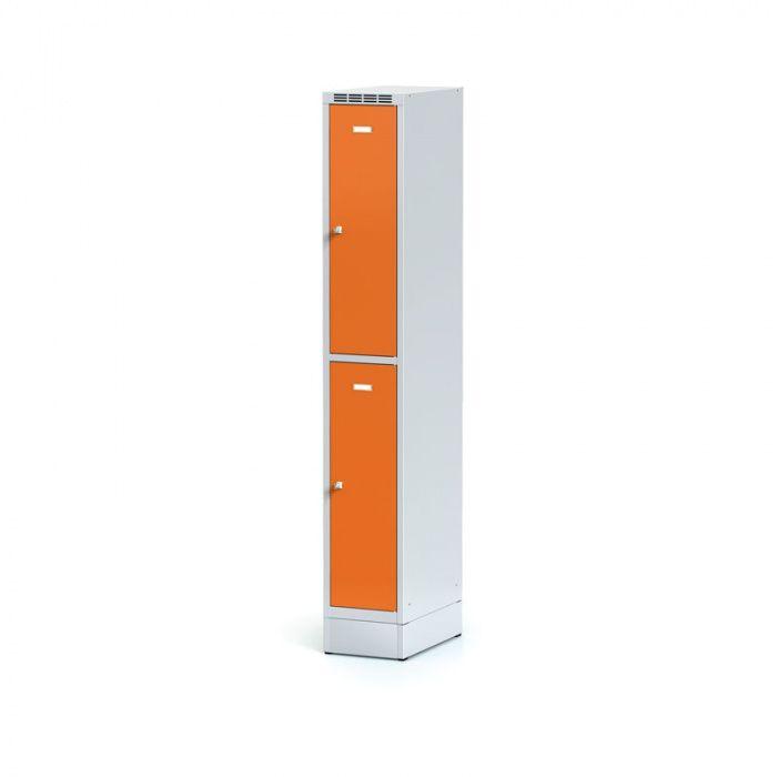 Metal wardrobe on plinth, 2 boxes, orange door, cylin …