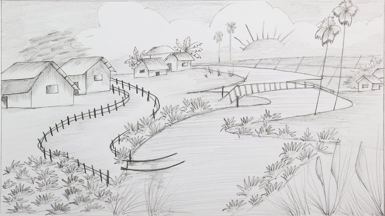 How to draw a village scenery with pencil step by step easy drawings scenery