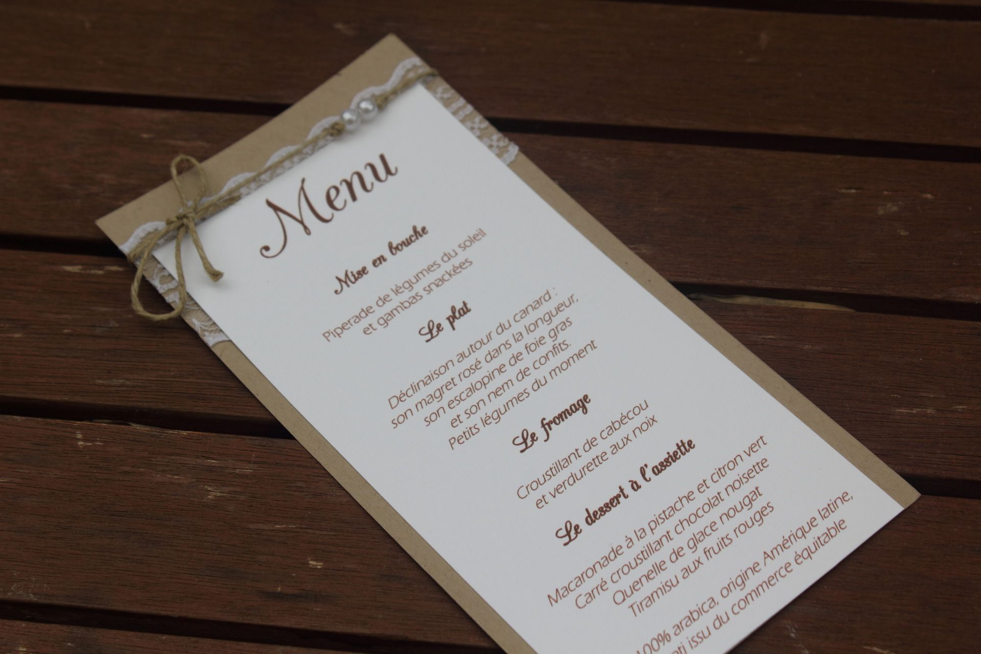 Menu n 2 gamme mariage champ tre chic weddings pinterest mariages champ tre chic - Menu repas mariage champetre ...