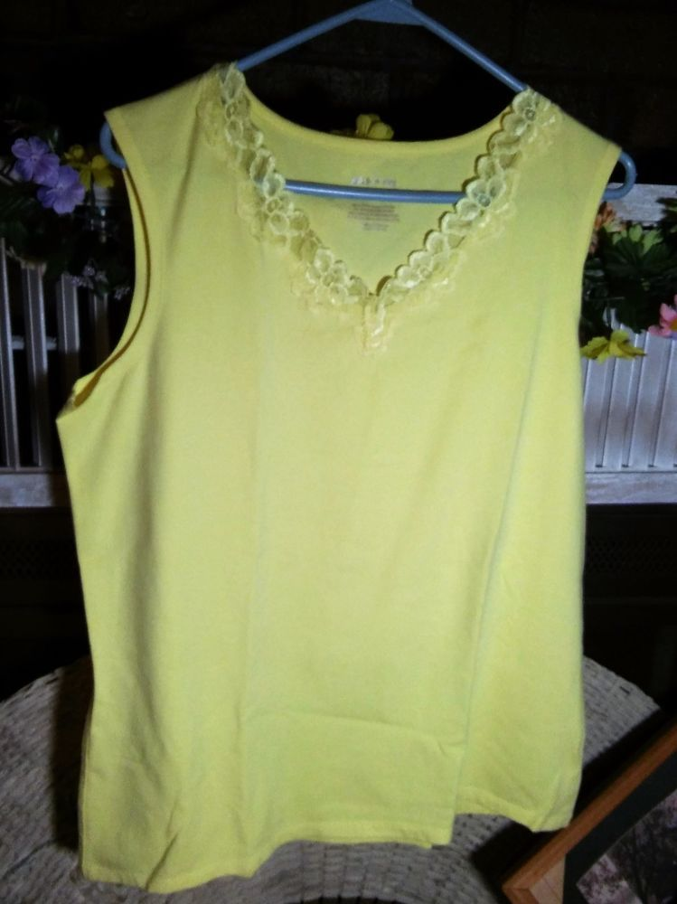 c099f8f9fc1e27 White Stag Ladies Yellow Sleeveless Shell Tank Top Lace Cotton XL 16-18  NWOT…