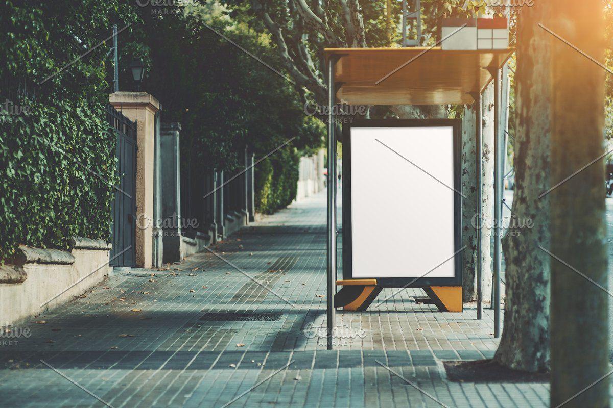 Billboard Mockup Inside The Bus Stop Billboard Mockup Poster Mockup Blank Poster