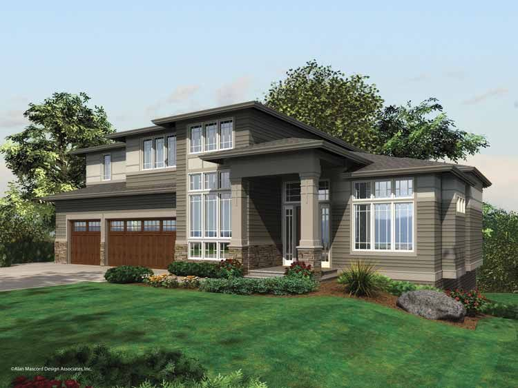 Modern Contemporary House Plans   Home Plans HOMEPW02492   4 882     Search HOMEPW02492 contemporary prairie Home Plans at Homeplans com