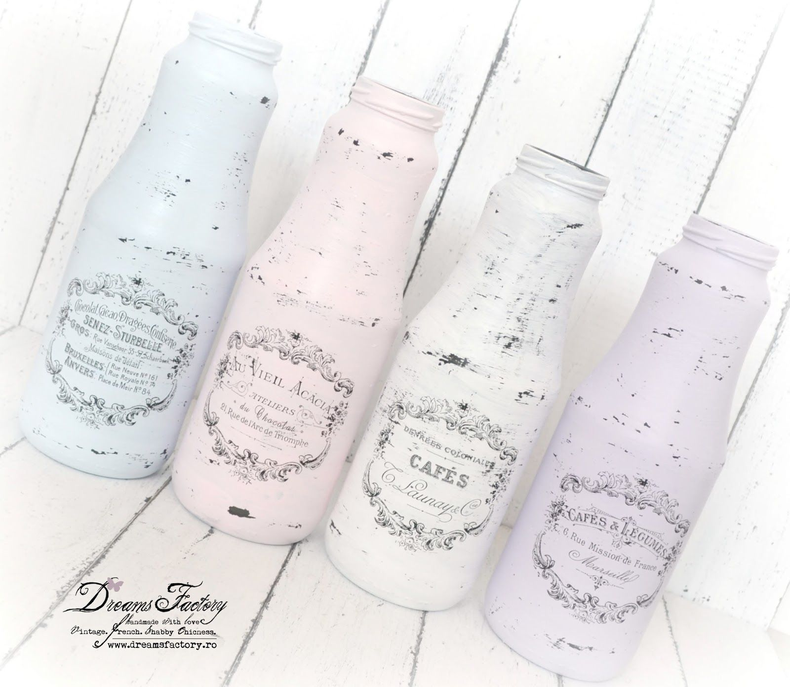 Dreams Factory: Shabby French Caddy & Painted Jars ♦ Ladita Shabby cu maner si borcane pictate