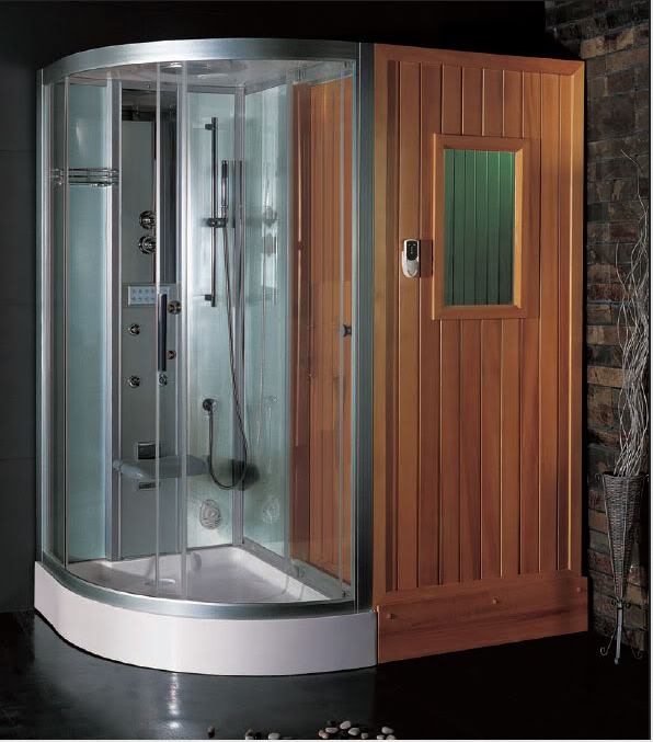Ariel Steam Shower Sauna Combo Unit With Accupuncture Massage Hydro Jets Computerized LCD Rainfall Ceiling Handheld Showerhead