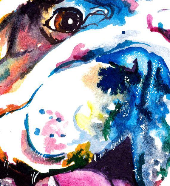 Colore Bulldog Anglais Art Print Impression De Ma Peinture