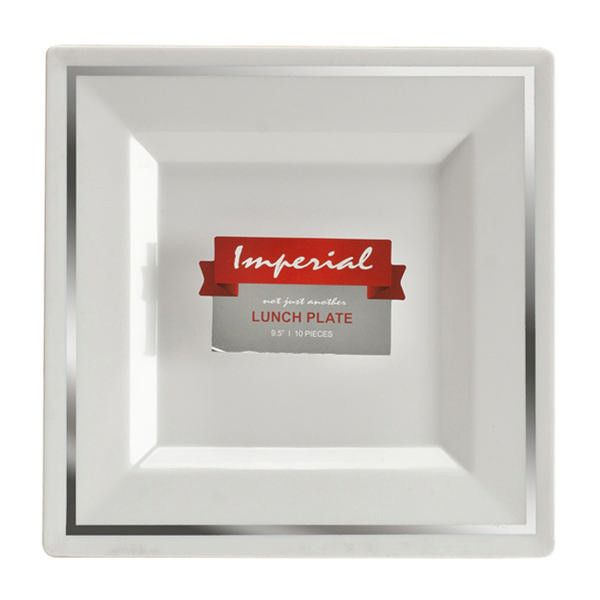 Imperial 10 3/4 Inch White Plastic Square Plate with Silver Band/Case of  sc 1 st  Pinterest & Imperial 10 3/4 Inch White Plastic Square Plate with Silver Band ...