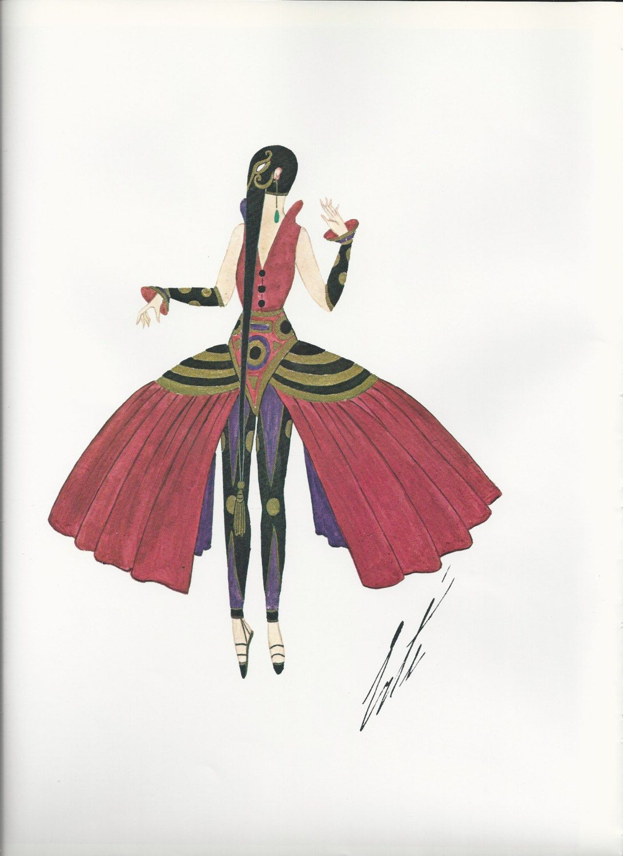 Erte' Print Art Deco Theatrical Costumes 2 sided Book Page. Original Vintage Art…