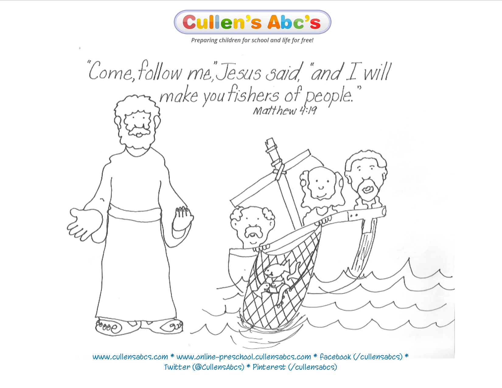 Jesus Chooses His Disciples Bible Key Point Coloring Page For A Complete Approach To Christian Worship At Home Use Cullens Abcs DIY Online Preschool
