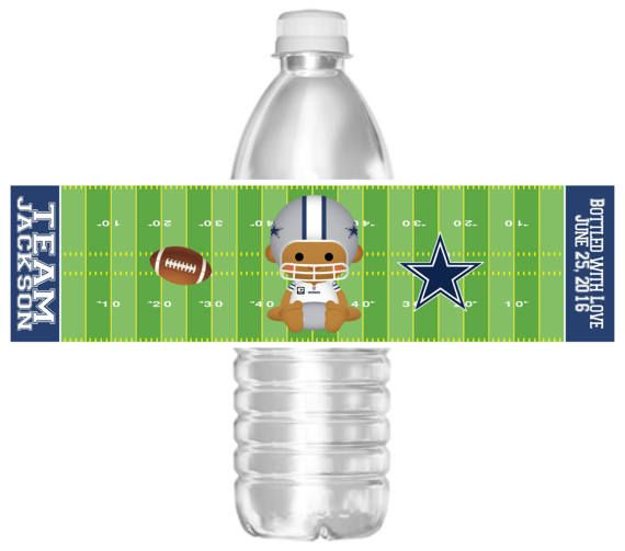 524034da343 Printable Dallas Cowboys Football Baby Shower Water Bottle | Art ...