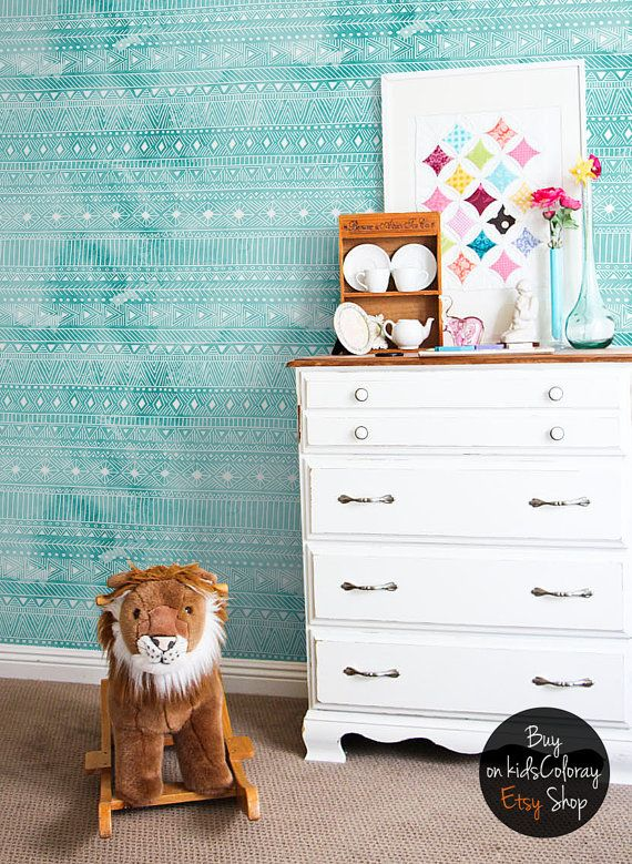 Geometric watercolor wallpaper Turquoise wall mural for nurseries