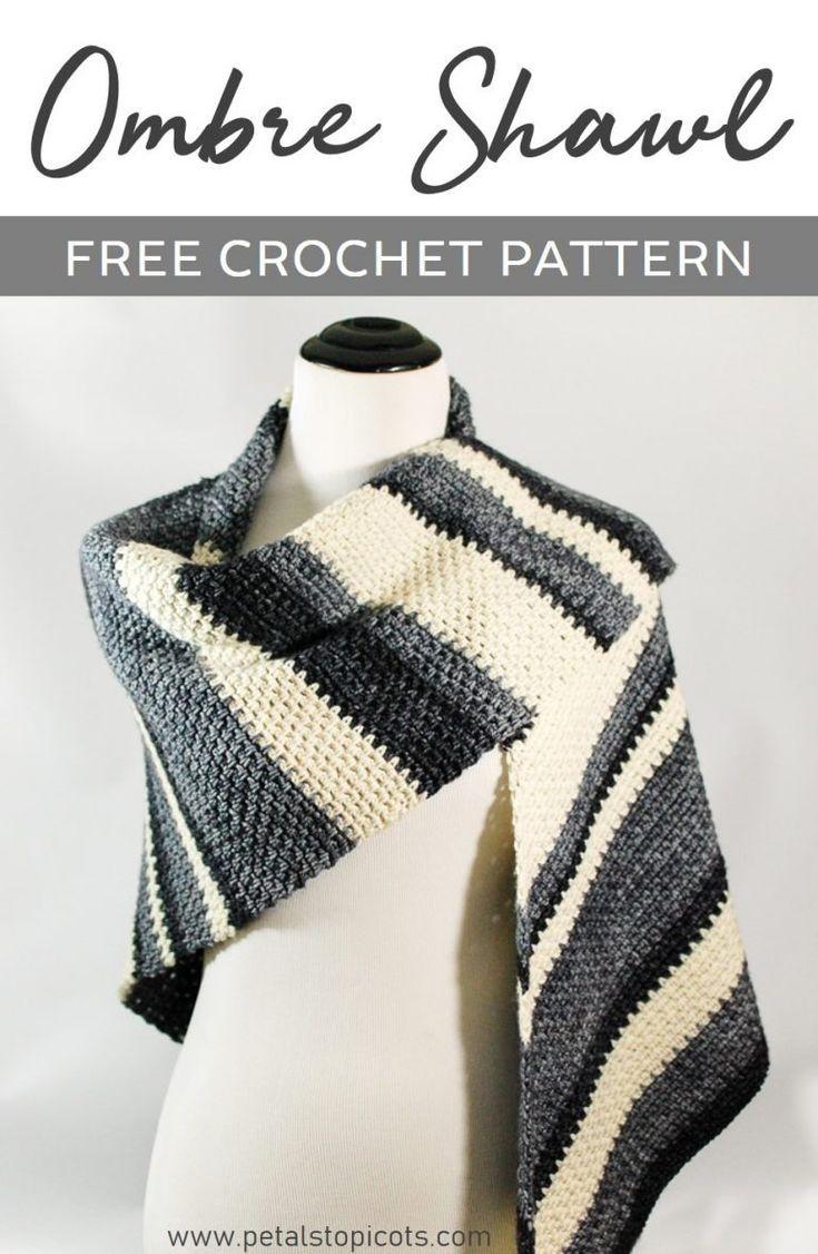 Ombre Shawl Crochet Pattern | patrones | Pinterest | Ponchos, Tejido ...