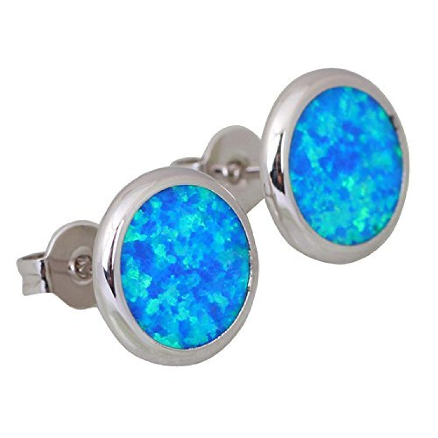 Charismatic Fashion Brand Designer Silver Blue Fire Opal Earrings