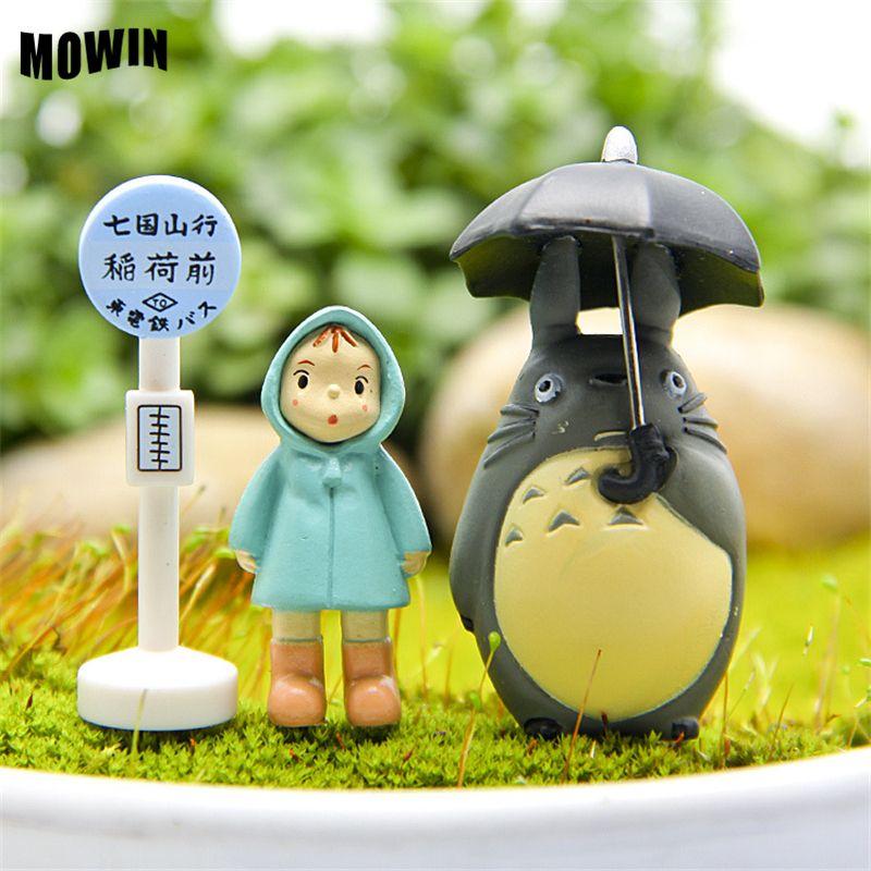 MOWIN 3pcs/lot Kawaii Totoro Studio Ghibli Action Figure Action Miyazaki Hayao Umbrella Japanese Anime Toy Model Baby Collection