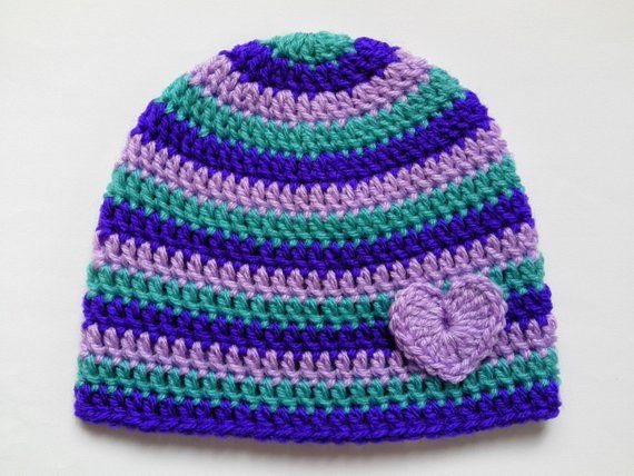 Crochet Baby Toddler Kids Hat and Scarf Set gift violet green lilac hearts 84ca6fbb19