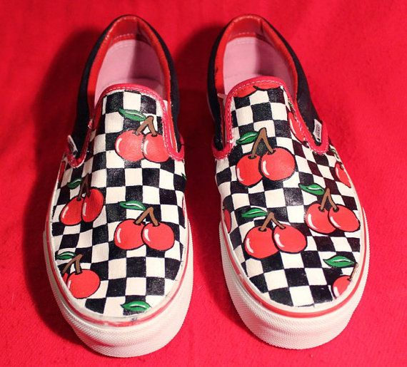 Cherry Checkered Vans Shoes Hand Painted Personalised | Vans