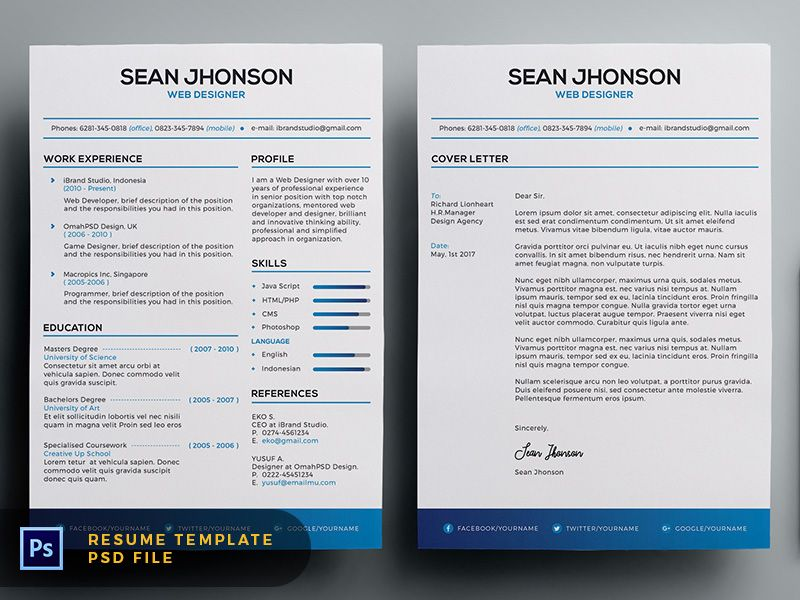 Free Malist Resume Template  Cover Letter Blue