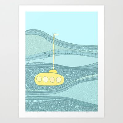 Yellow+Submarine+Art+Print+by+Anita+Ivancenko+-+$16.00