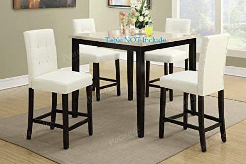 Set Of 4 Bar Stools White Faux Leather Parson Counter Height Chairs With High Back And F Dining Table Setting Counter Height Dining Table Counter Height Chairs