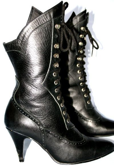 By On Genuinegunpowderred Lace Black Leather Up Granny Boot iXZuTkwOlP
