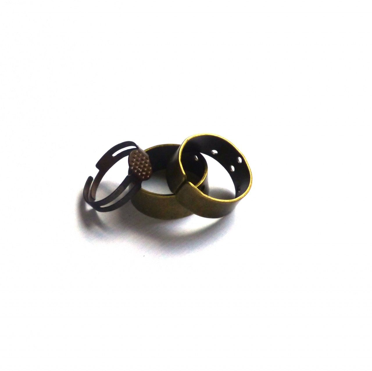 Brass Ring Base. Brass Ring with Holes. Brass Ring with Platform. Adjustable. Ring Making Supplies. Set of Three (3). - $2.00 - Handmade Commercial Supplies, Crafts and Unique Gifts by Trunk Sale #ringblanks #ringbase #stackingrings #jewelrysupplies #jewelrymakingsupplies #crafting