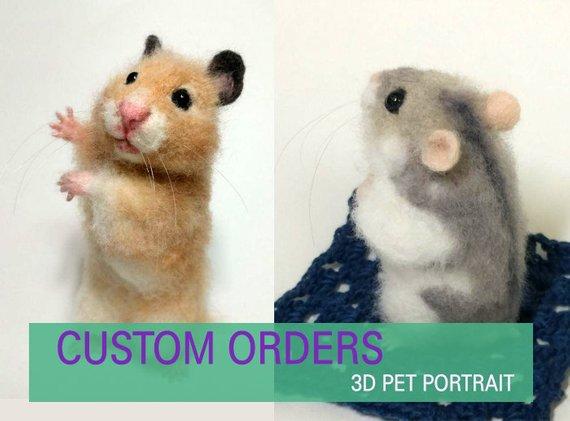 Custom Felted Hamster Needle Felted Hamster Syrian Hamster