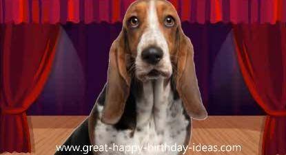 Animated Music Elvis Dog Singing Birthday Card