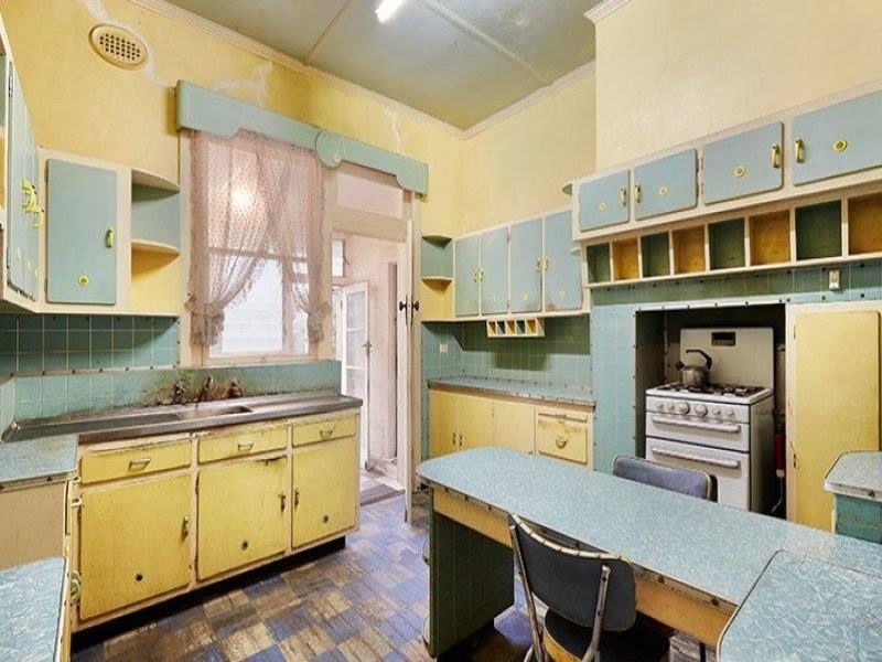 vintage kitchen, original 1950s, unrenovated in rental ...