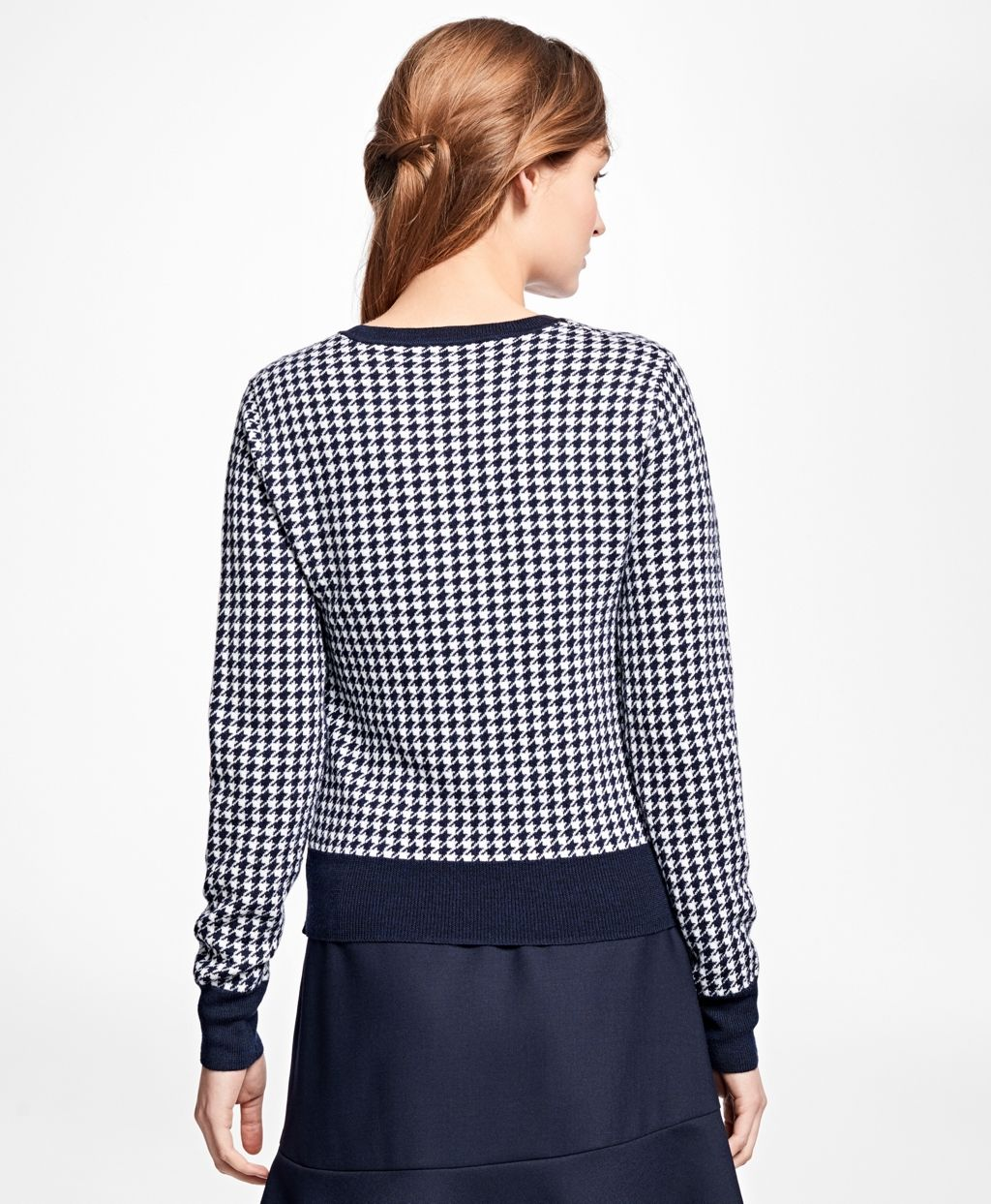 Merino Wool Houndstooth Sweater - Brooks Brothers