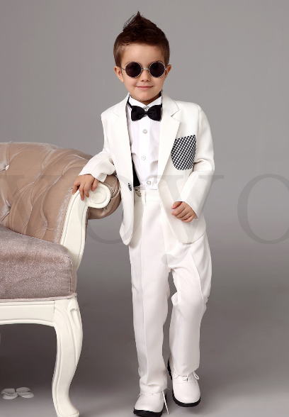 Four Pieces Luxurious White Ring Bearer Suits Trend