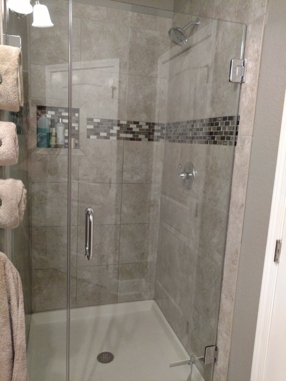 New Shower With New Acrylic Base And 3 8 Inch Glass Door With