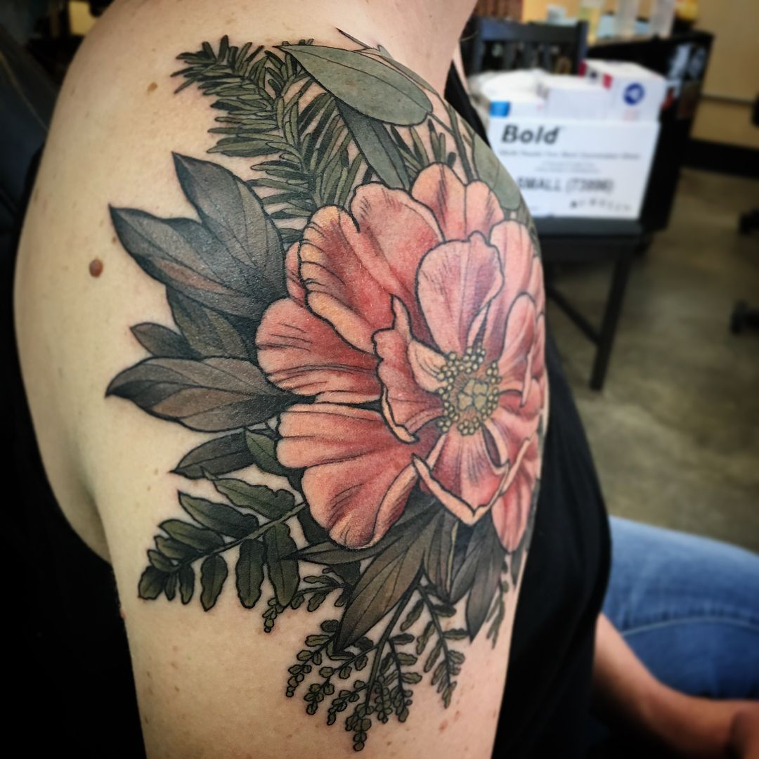 """Alice Kendall on Instagram: """"Had a nice day tattooing Lindsey from Coeur D'alene! #peony #fern #pine and #eucalyptus @wonderlandpdx"""""""