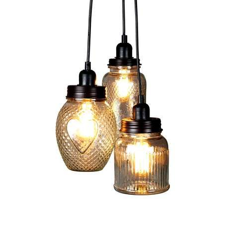 Create a vintage feel in your living space with our unique glass jar light fitting, featuring a cluster of three glass jars in various shapes, sizes and texture...