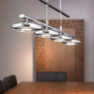Suspension barre LED 4 lumi res en m tal chrom  longueur 72.5cm ...