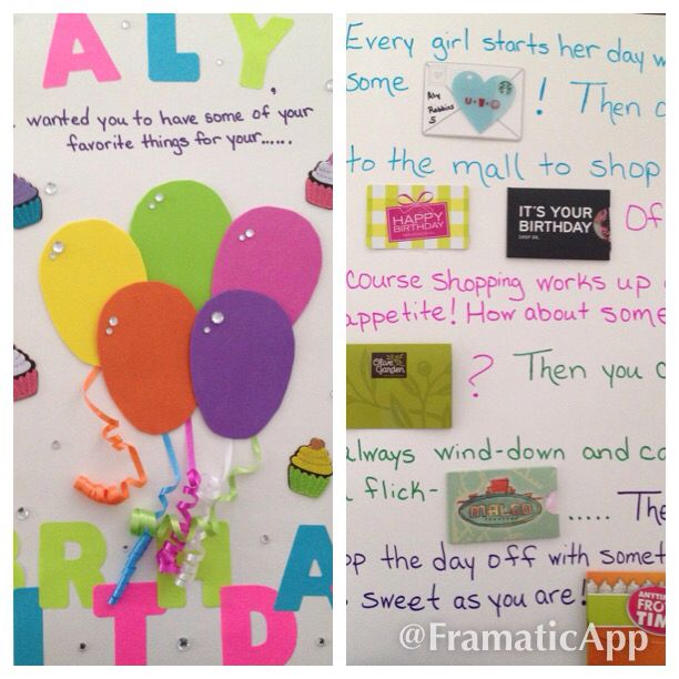 Giant Birthday card on posterboard filled with gift cards!  Perfect for tweens or older kids!