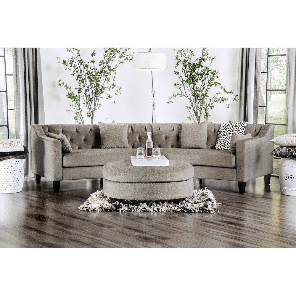 Copper Grove Brezovo Curved Sectional Grey Gray In 2020