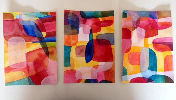 Abstracts - Set of Three Original Abstract Paintings - Watercolour and Gouache