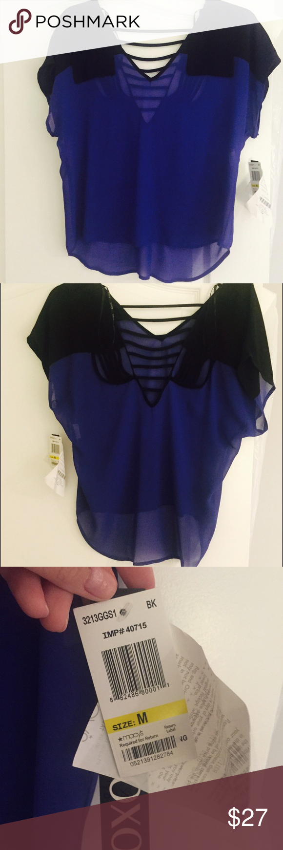 Brand new sheer blue and black blouse Brand new with tags. Never worn. Sheer blouse. Blue and black. Open back detail. Macy's XOXO brand. Smoke and pet free home. XOXO Tops Blouses