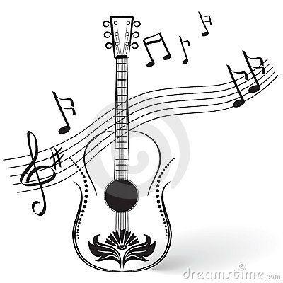 Guitarra Con Notas Musicales Buscar Con Google Con Imagenes