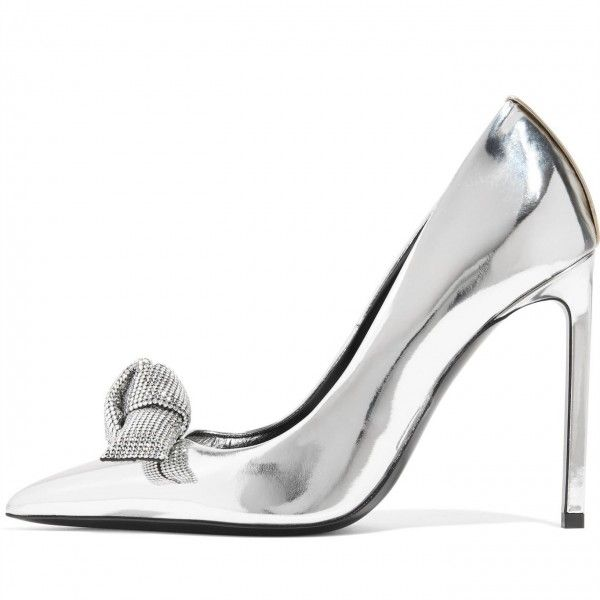 8a69a166166 Silver Metallic Heels Pointy Toe Mirror Leather Stiletto Heel Pumps for Work