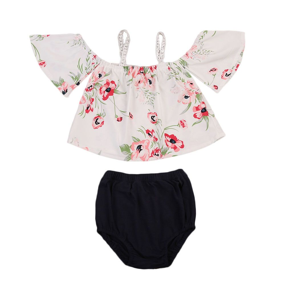 Click to Buy << Newborn Infant Baby Girls Clothes Set Floral Off