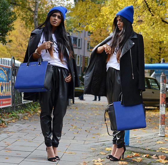 Ebay Blue Beanie, Sheinside Black Biker Coat, Brashy Couture Glossy Posse Tee, Selfridges Michael Kors Watch, Selfridges Michael Kors 'Selma Bag', Missguided Faux Leather Joggers, Ebay Strappy Heels