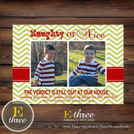 Printable Christmas Card - Naughty or Nice Picture Card - Funny Christmas  card - Chevron Red