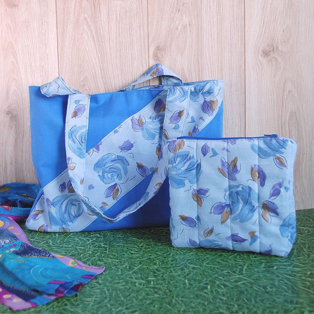 Blue Floral Set of 2 Cotton Matching Bags for Women Tote