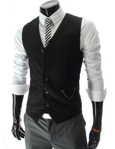 a15639cafbd TheLees Mens slim fit chain point 5 button vest  Clothing