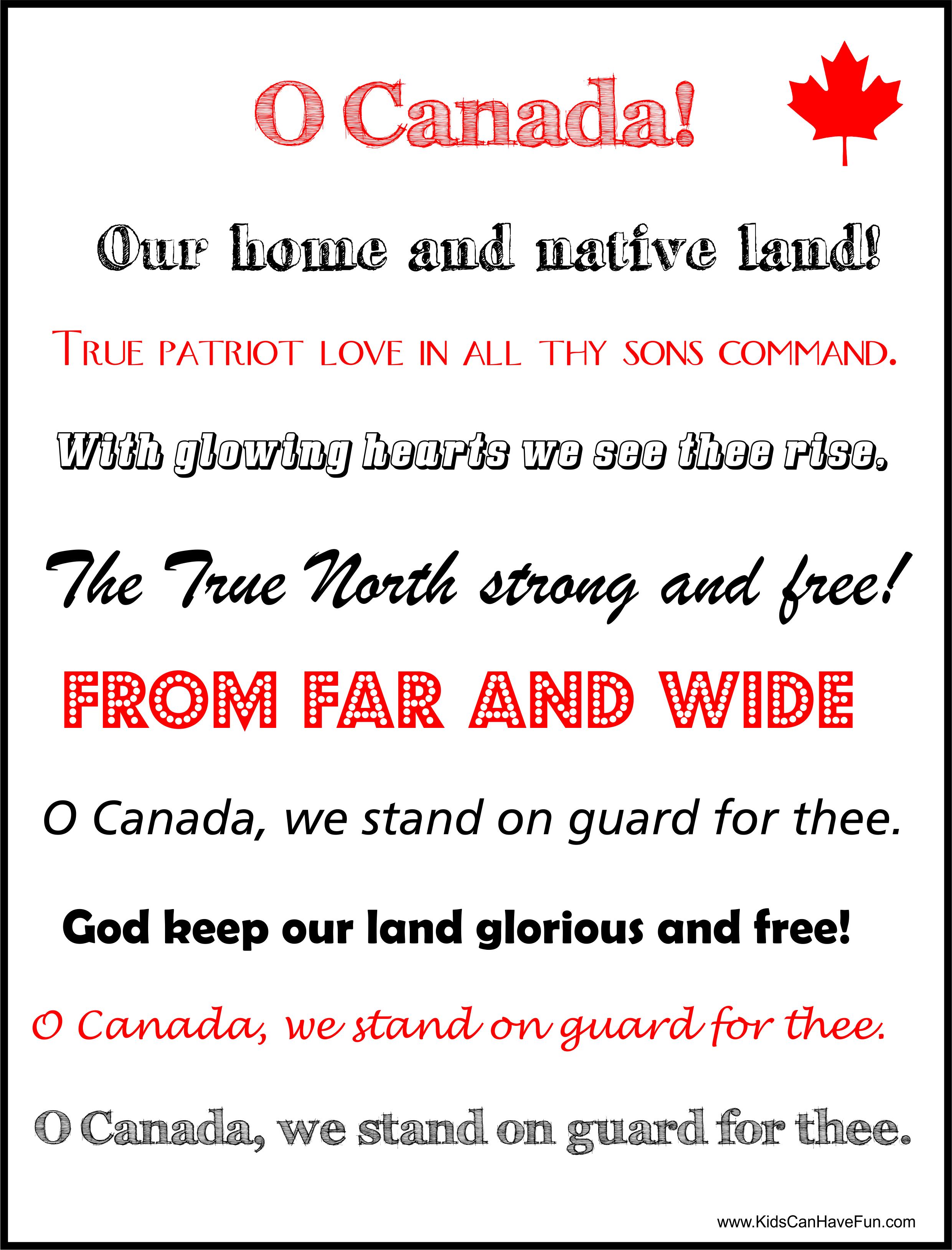 Canada National Anthem Poster Http Www Kidscanhavefun Com Canadaday Activities Htm Ocanada Canadaday Anthem Canada Day Flag Canada Day Day