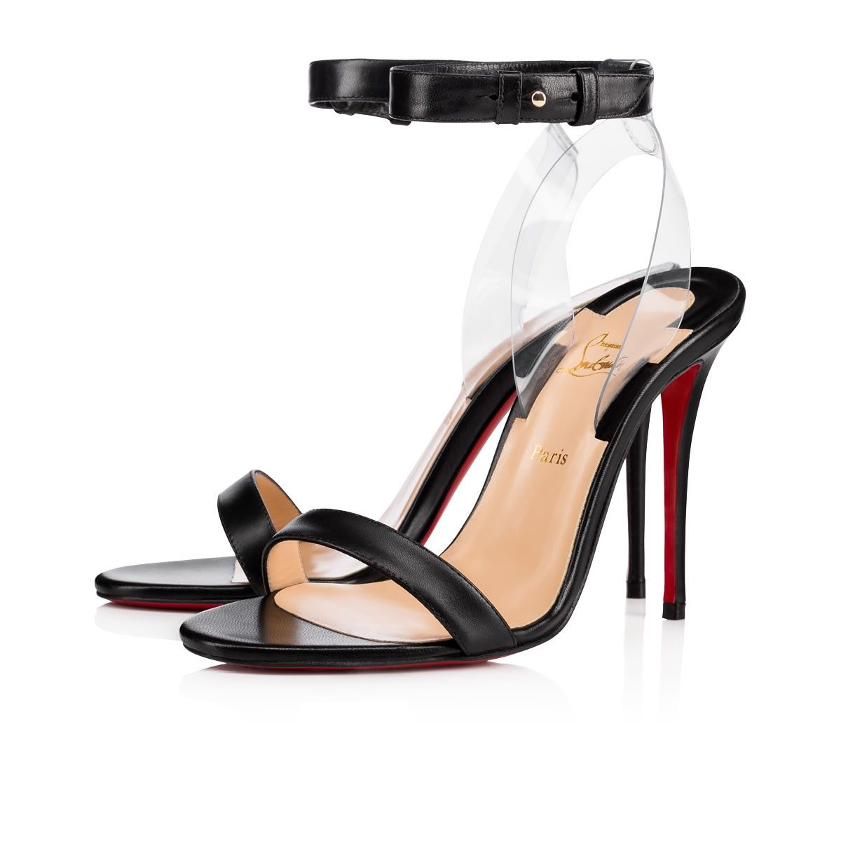 Jonatina Embodies Minimalist Elegance A Transparent Pvc Heel Feature Creates The Illusion Of A Det Christian Louboutin Black Sandals Heels Minimalist Shoes
