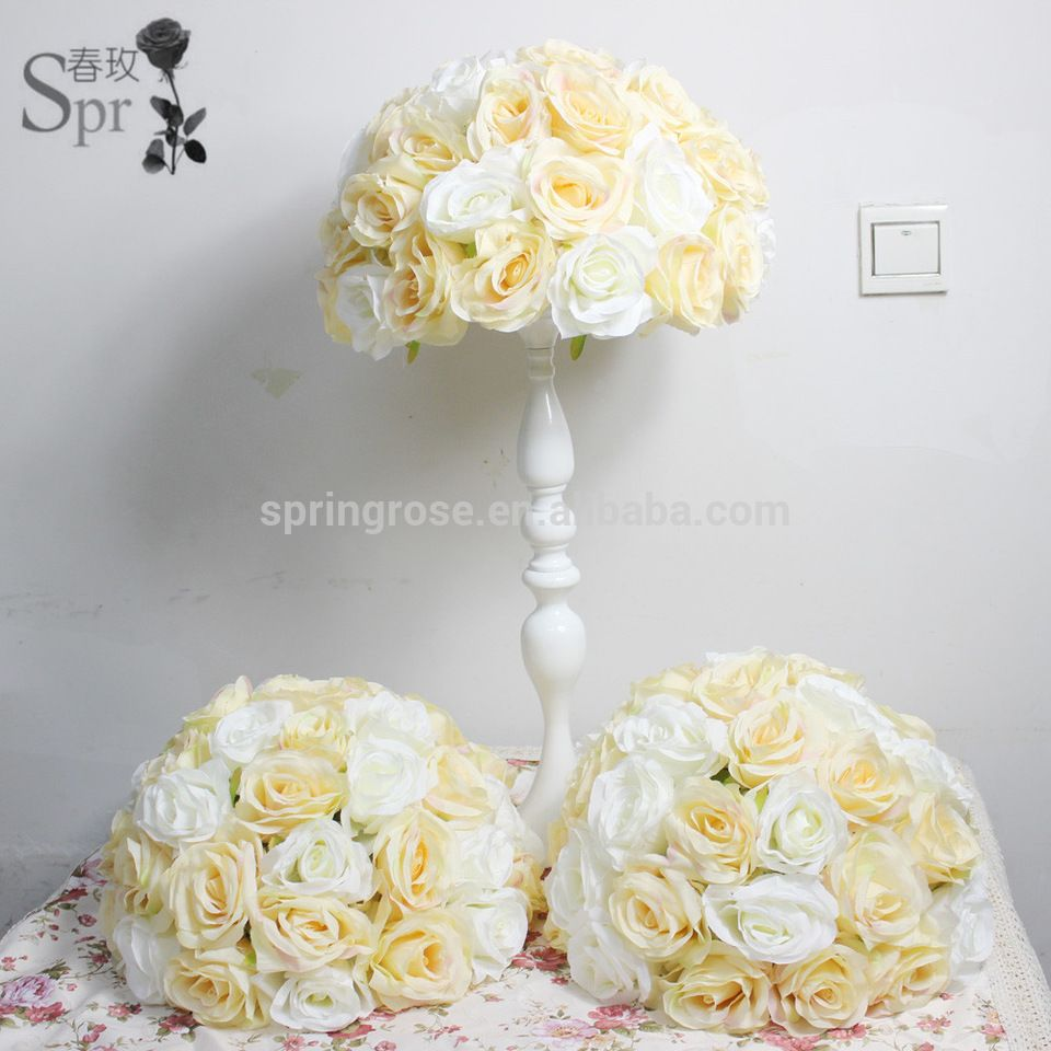 Champagne artificial flower ball wedding event table centerpiece ...