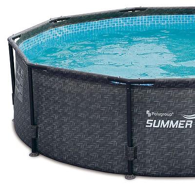 Summer Waves 10 X 30 Above Ground Frame Swimming Pool Set W Pump Dark Wicker Target Summer Waves Pool Kits Pool